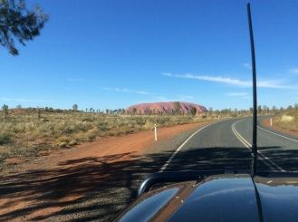 Feeling excited as we approach Uluru for the first time